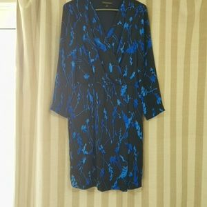 Banana Republic Blue and black modest dress